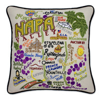 Napa Valley Hand Embroidered Pillow