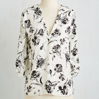 Mid-length 3 Work of Wonder Top in Floral by ModCloth