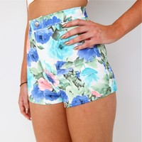 WATERCOLOUR BLUE PURPLE PINK HIGH WAISTED FLORAL ROSE FESTIVAL SHORTS 6 8 10 12