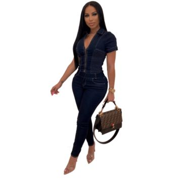 V-neck Short Sleeves Skinny Denim Jumpsuit