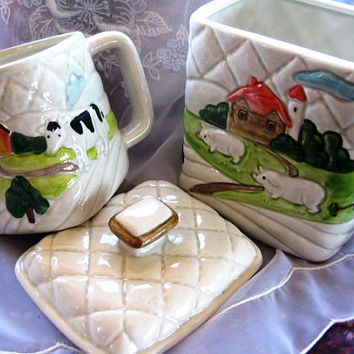 1982 Otagiri Handpainted Quilted Farm Scene Set of TWO items GREAT