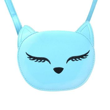 Adorable Kitty Cat Face Shaped Cross Body Bag for Women in Mint Blue