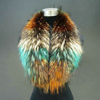 winter fur scarves  Colorful real raccoon fur collars