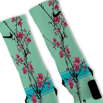 Green Tea Customized Nike Elite Socks Fast Shipping!