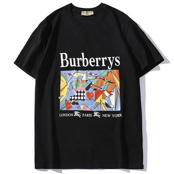 Burberry 2019 new oil painting horse print men and women round neck shirt black