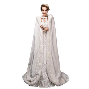EnjoyBridal Faux Fur Bolero Cape for Women Floor Length Warm Bridal Cloak Stole (One Size, Ivory)