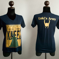 Loki : You were made to be ruled and Loki's army with helmet GOLD printed on dark navy Tshirt