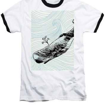 Whale On Wave Paper - Baseball T-Shirt