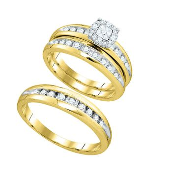 10k Yellow Gold Round Diamond Cluster Mens Womens Matching Halo Trio Wedding Bridal Ring Set 3/8 Cttw