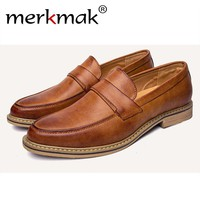 Merkmak Fashion Oxfords Shoes Men British Style Casual Loafer Business Men Flats Footwear Slip On Soft Moccasins Chaussure Homme