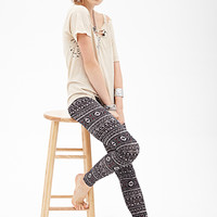 FOREVER 21 Mixed Tribal Print Leggings Black/Beige