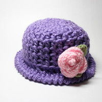 Purple Crochet Cloche, Women's Hat With Flower, 1920's Style Flapper Hat, Chunky Knit Beanie, Winter Accessory In Radiant Orchid