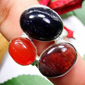 Natural Tiger Eye, Blue Goldstone & Red Carnelian 925 Silver Overlay Ring - Size 7