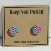 Hand Painted Chevron Stud Earrings Turquoise Red Post Gift ArT Jewelry | KeepYouPosted - Jewelry on ArtFire