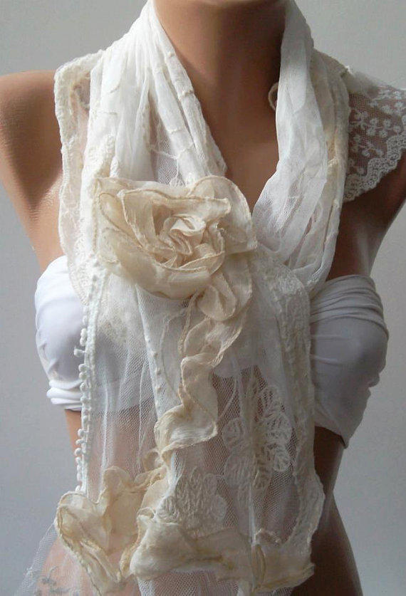 Pearl White / Elegance Shawl / Scarf with Lace Edge.