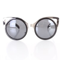 Black Silver Cut Out Metal Cat Eye Frame Sunglasses