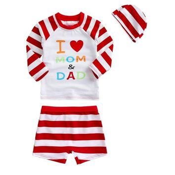 Toddler Girl Swimwear Two Pieces Rash Guard I Love Mom & Dad Striped Girls Swimsuits for Children Long Sleeve UV Block Bath Suit