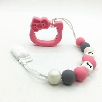 BPA FREE Silicone Teething hello kitty pacifier clips Teething Chain Toys Pendant Necklace  Baby Pacifier Clip Holder Safety