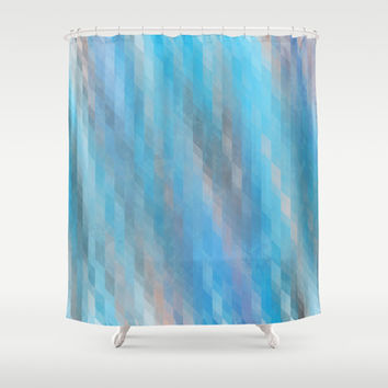 Washed Out Geometric: Blue, Grey and Pink Shower Curtain by Kat Mun