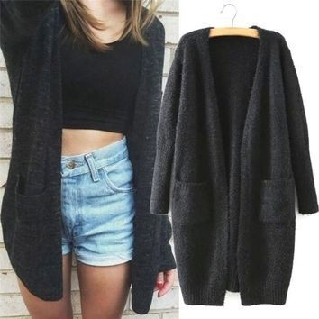 2018 Girl Casual Long Knitted Cardigan Autumn Korean Women Loose Solid Color Pocket Design Sweater Jacket Coat Outwear