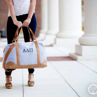 Sorority Navy Seersucker Weekender Bag