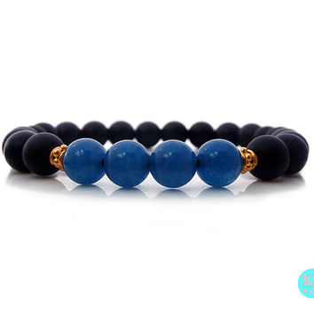 Men's Matte Black Onyx and Blue Apatite Bracelet,Men's Black Onyx and Blue Apatite 22 carat Gold Vermeil Bracelet