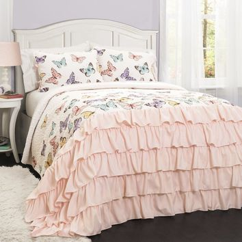 Butterfly Kisses Girls Ruffle Quilt Bedding SET