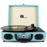 MUSITREND Record Player Classic Portable Suitcase 3 Speed Stereo Turntable with Built-in Speakers, PC Recorder, Headphone Jack, RCA line out, Blue
