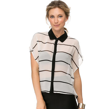 Black and White Striped Top with Colar