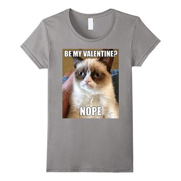 Grumpy Cat Nope Valentine's Day Meme Photo Graphic T-Shirt