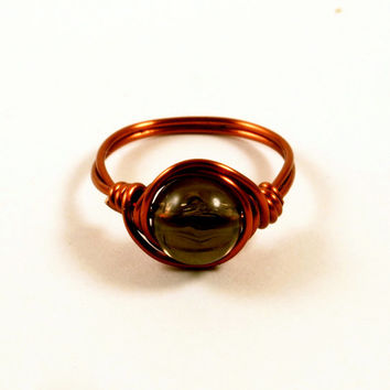 Smoky Black Copper Wire Wrapped Ring Size 6