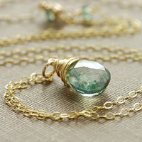 Wrapped Sea Green Quartz Handmade Necklace | aubepine - Jewelry on ArtFire