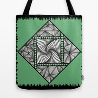 Paradox Tile on Green Tote Bag by Charma Rose