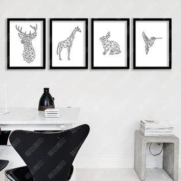 Geometric Animals Wall Art Canvas Print , Modern Wall Painting Geometric giraffe rabbit bird deer head Prints for home art decor