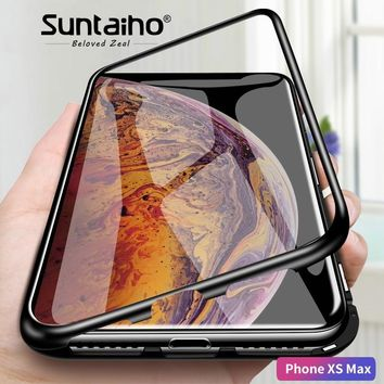 Suntaiho magnetic adsorption Phone case for iPhone XS Max XR 8 X case Magnetic Tempered Glass Case for iPhone XS MAX X 7 6 PLUS