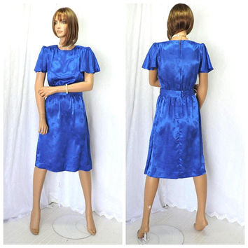Vintage 70s  dress / size S / royal blue silk secretary dress / Leslie Fay 1970s silk embossed mod retro blue career dress / USA union made