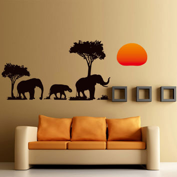 New Arrival Jungle Wild Cartoon Tree Elephant Sunset Removable Decal Home Decor Wall Sticker Wallpaper Sofa Wall DIY Decor