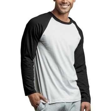 Mechaly Men Basic Long Sleeve Two Tone Baseball Tee