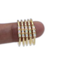 Minimal jewelry thin band white fire opal three stone ring