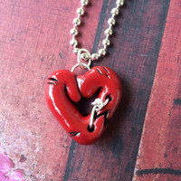 Steampunk Red Open Center Broken & Mended Heart Pendant Necklace