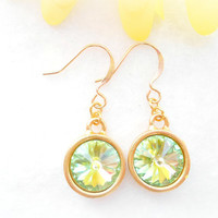 Peridot Rivoli Earrings - Swarovski Crystal Drop Earring - Gold Earrings - Bridesmaid Jewelry - Wedding Jewellery