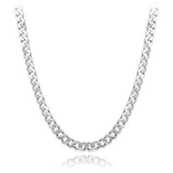 """Italian 7.5mm Solid 925 Platinum Plated Sterling Silver Beveled Cuban Curb Link Chain 26"""" Long, Fronay Collection"""