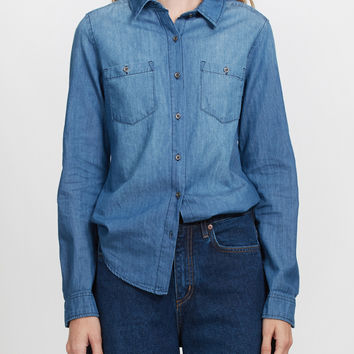 LE3NO Womens Lightweight Button Down Denim Jean Shirt with Pockets