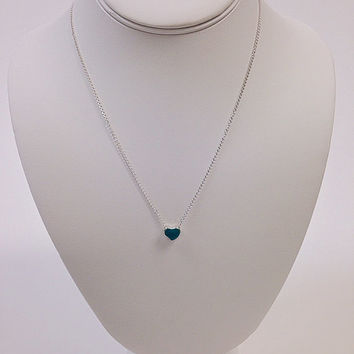Teal heart necklace / Silver heart necklace / Minimalist necklace / Blue heart necklace / Blue enamel heart necklace / Blue love necklace
