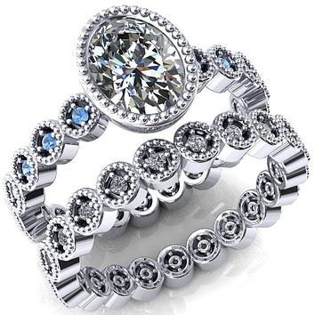 Borea Oval Moissanite Full Bezel Milgrain Aqua Blue Spinel Accent Full Eternity Ring