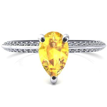 Nancy Pear Yellow Sapphire 3 Prong 1/2 Eternity Diamond Knife Shank Accent Engagement Ring