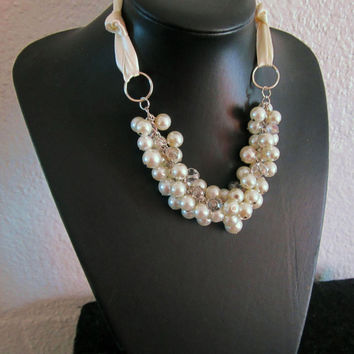 Bridesmaid Necklace, Pearl Necklace, Ivory Ribbon Necklace, Cluster Necklace with Ivory Ribbon Tie, Bow Necklace, White or Ivory Pearls