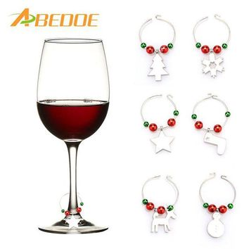 DCCKU7Q ABEDOE 6pcs Christmas Wine Glass Decoration Charms Party New Year Cup ring Table Decorations Xmas Pendants Metal Ring Decor