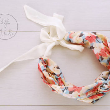 IVORY Flower Turban Headband Tie at the Back Headband Flower Baby Chiffon Headband Toddler Headband Adult Headband