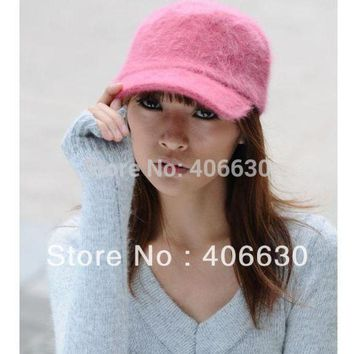 DCCKHY9 winter solid color rabbit fur berets hats for women, gatsby baseball caps, sun visor caps, free shipping